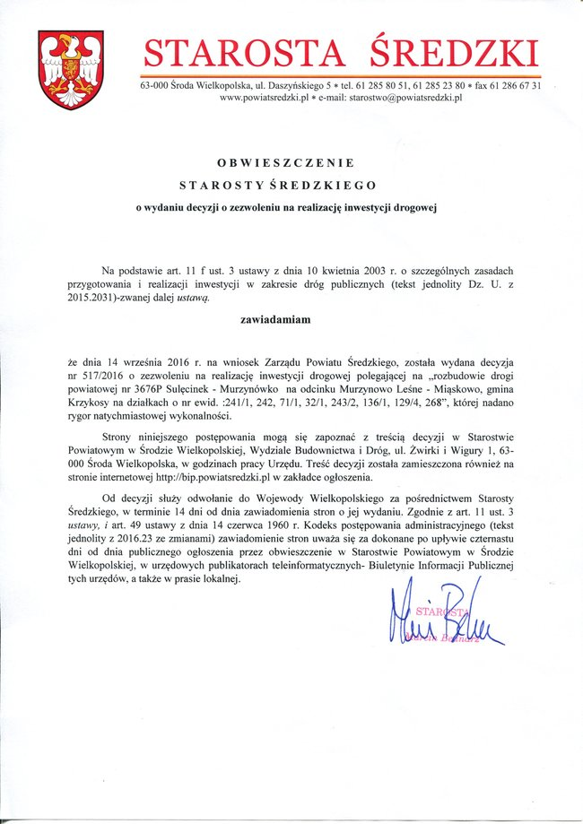 Obwieszczenie Starosty Średzkiego o wydaniu decyzji o zezwoleniu na realizację inwestycji drogowej